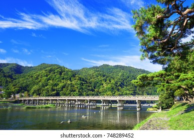 "The Togetsukyo Bridge, in Arashiyama, Kyoto, Japan. ""Togetsukyo"" means ""Moon-Crossing Bridge""."