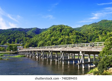 "The Togetsukyo Bridge in Arashiyama, Kyoto, Japan. ""Togetsukyo"" means ""Moon-Crossing Bridge""."