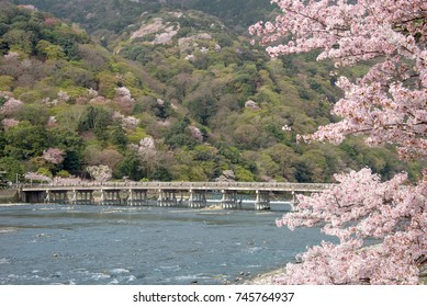 The Togetsukyo Bridge with cherry blossoms, Arashiyama, Kyoto, Japan.