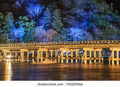 Togetsukyo Bridge, Kyoto, Japan, lit up at night during Arashiyama Hanatouro.