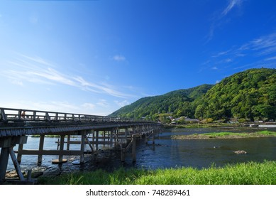 The Togetsukyo Bridge, Kyoto, Japan, in summer.
