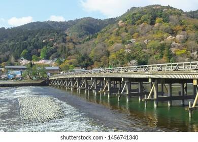 Togetsu-kyo Bridge is a bridge that crosses the Katsura River in Arashiyama, Kyoto, Japan.