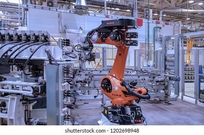 TOGLIATTI, RUSSIA - AUGUST 25, 2018: Assembly line production of LADA Cars in AVTOVAZ Factory Togliatti