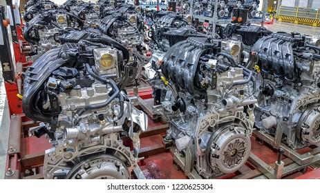 TOGLIATTI, RUSSIA - AUGUST 25, 2018: New manufactured engines on the assembly line. H-4 for LADA in AVTOVAZ Factory Togliatti
