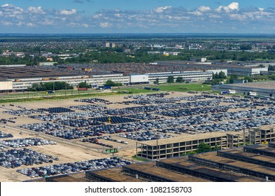 Togliatti, Russia - July 4, 2017: New cars in the warehouse of finished products in Automobile Factory AVTOVAZ
