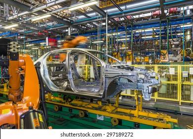 TOGLIATTI, RUSSIA - JUNE 09: Body Shop B0 Line. Robots welding in a car factory. Welding car body of LADA Cars in Automobile Factory AVTOVAZ on June 09, 2015 in Togliatti