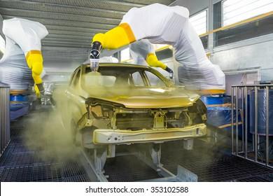 TOGLIATTI, RUSSIA - JUNE 09: Paint Shop B0 Platform. Robots painting body of LADA XRAY Car in Automobile Factory AVTOVAZ on June 09, 2015 in Togliatti
