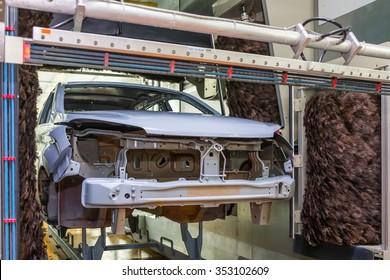 TOGLIATTI, RUSSIA - JUNE 09: Paint Shop B0 Platform. ?ntistatic equipment EMU and robots painting body of LADA XRAY Car in Automobile Factory AVTOVAZ on June 09, 2015 in Togliatti