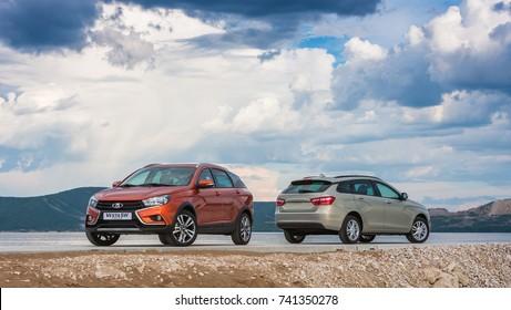 Togliatti, RUSSIA - June 19, 2017: Presentation of new LADA VESTA SW and SWC - Sport Wagon Cross. Test Drive in National Park Samarskaya Luka in the Zhiguli mountains on the Volga river