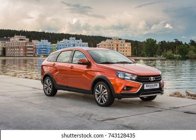 Togliatti, RUSSIA - June 19, 2017: Presentation of new LADA VESTA SW and SWC - Sport Wagon Cross. Test Drive in National Park Samarskaya Luka in the Zhiguli mountains on the Volga river