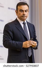 TOGLIATTI, RUSSIA - JUNE 26, 2013 : CEO of Alliance RENAULT-NISSAN-AVTOVAZ Carlos Ghosn during a visit to automobile plant in Togliatti