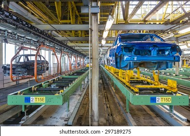 TOGLIATTI, RUSSIA - JUNE 26: Paint Shop Line B0. Robots painting car body of LADA Cars in Automobile Factory AVTOVAZ on June 26, 2015 in Togliatti