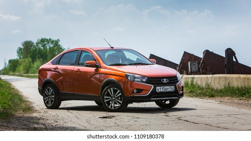 Togliatti, Russia, MAY 17, 2018: Presentation of the new LADA Vesta cross sedan. Spring off-road car tests in water and roadless conditions on ordinary Russian country bad roads