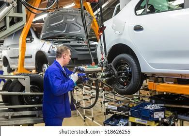 Togliatti, Russia - November 14, 2016: Assembly line of LADA Cars B0 Platform in Automobile Factory AVTOVAZ - The Member of Alliance RENAULT-NISSAN-AVTOVAZ-DATSUN
