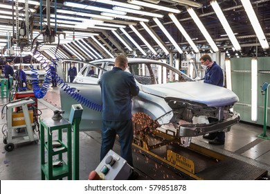 TOGLIATTI, RUSSIA - NOVEMBER 21, 2016: The welding body shop and the assembly line production of LADA Cars in AVTOVAZ Factory Togliatti