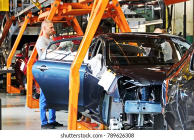 Togliatti, Samara reg/ Russia  – 08.16,2017: AutoVAZ - Volzhsky Automobile Plant, largest car manufacturer in Russia and Eastern Europe. Assembling cars (Lada and Renault) at conveyor assembly line.