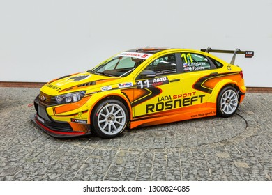 TOGLIATTI, Samara region - JANUARY 12, 2019: Presentation new design of LADA Sport Rosneft Racing cars in AVTOVAZ Engineering Center. LADA Vesta Sport