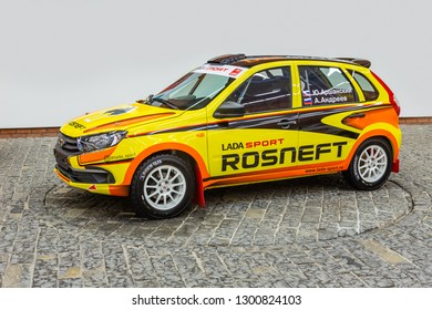 TOGLIATTI, Samara region - JANUARY 12, 2019: Presentation new design of LADA Sport Rosneft Racing cars in AVTOVAZ Engineering Center.