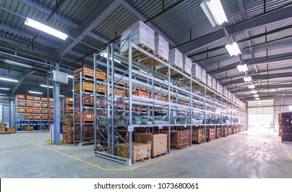 TOGLIATTI, SAMARA region, RUSSIA - JANUARY 27, 2015: Interior of LADA auto parts warehouse. LADA-SPORT warehouse with forklifts for storage vehicle spare parts