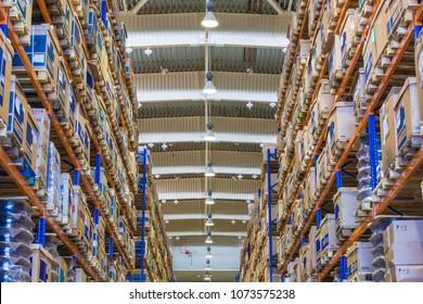 TOGLIATTI, SAMARA region, RUSSIA - June 04, 2015: Interior of LADA auto parts warehouse. Large modern LADA-IMAGE warehouse with forklifts for storage vehicle spare parts. Biggest stock in RUSSIA