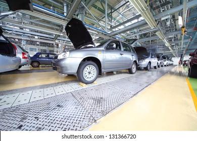 "TOGLIATTI - SEPTEMBER 30: Lada Kalina at Avtovaz factory on September 30, 2011 in Togliatti, Russia. AvtoVAZ won contest ""Best Russian Exporter of 2011"" in category Cars."
