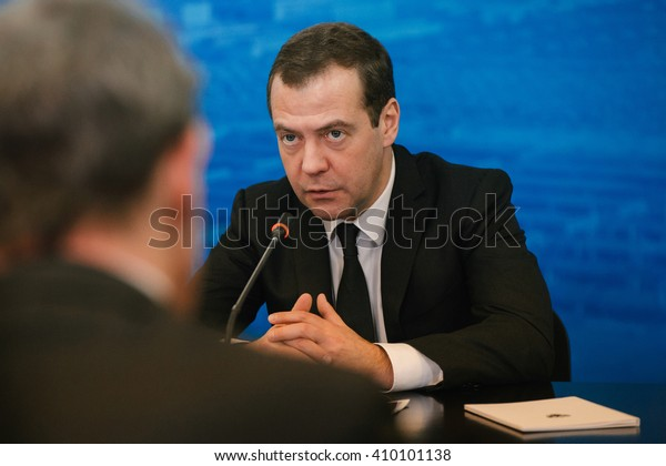 TOGLIATTY, RUSSIA - JAN 22: Dmitry Anatolyevich Medvedev at the AVTOVAZ factory. Jan, 22, 2016 at Togliatty,, Russia