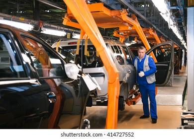 Togliatty, Samara region, Russia - December 15: Assembly line of LADA Cars Automobile Factory AVTOVAZ - on December 15, 2015 in Togliatty