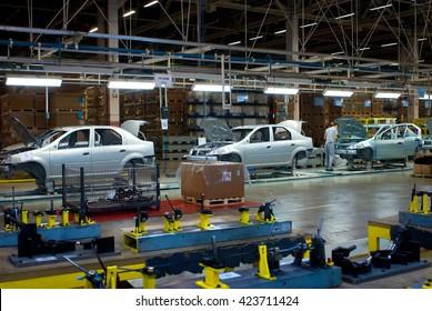 Togliatty, Samara region, Russia - December 13, 2007: Assembly line of LADA Cars  Factory Avtovaz