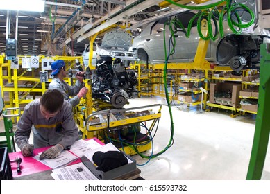 Togliatty, Samara region, Russia - December 13: Assembly line of LADA Cars Automobile Factory AVTOVAZ - on December 13, 2007 in Togliatty