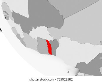Togo in red on simple grey political globe with visible country borders. 3D illustration.