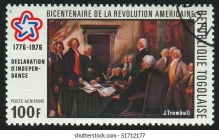 TOGOLESE REPUBLIC -CIRCA 1976: stamp printed by Togo, shows writing the Declaration of Independence,  circa 1976.
