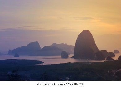 Toh Li viewpoint at sunset, Phang nga, Thailand Located on Tha tian district ,Phang nga province in south of Thailand. 180 degree panorama view of Toh Li viewpoint we can see Ban Hin Lom