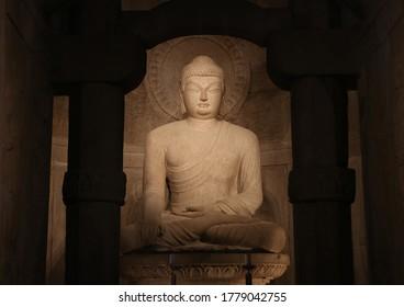 Tohamsan Mt, Gyeongju-si, Gyeongsangbuk-do, South Korea - November 30, 2019: Stone Buddha at Seokguram Grotto which is National treasure no 24