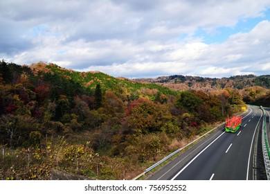 Tohoku Expressway in Autumn Leaves.
