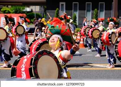 Tohoku Kizuna Festival 2018 Morioka , taken on 3 June 2018. This 2 days event consist of six major festivals in north east Japan, citizens can enjoy watching traditional dance and performance.