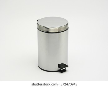 Toilet aluminum garbage bin isolated in white background