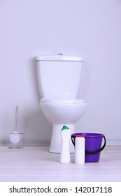 Toilet in bathroom close-up