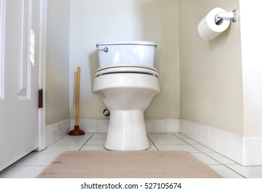 Toilet in a bathroom of a private home.