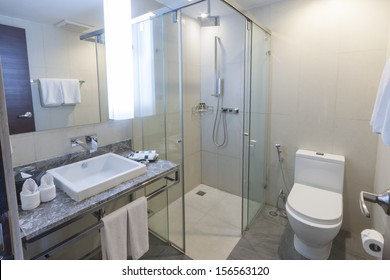 toilet and bathroom with rain shower head.