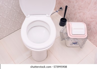 Toilet with bin in the bathroom