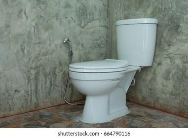 Toilet bowl in bathroom cement walls.