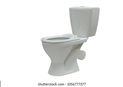 Toilet bowl compact with oblique release isolated on white background copy-space.