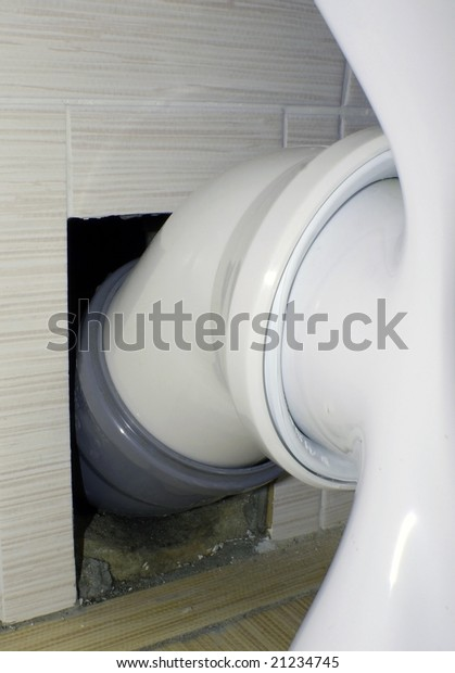 Toilet Bowl Connection Water Drain Use Stock Photo (Edit Now