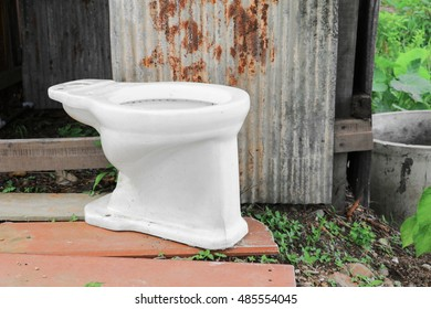 toilet bowl old in the public park countryside