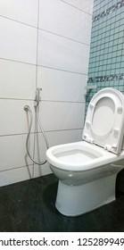 Toilet bowl and water sprinkler inside bathroom