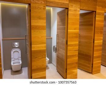 Toilet Cabines in Public Restroom