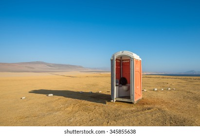Toilet in a desert