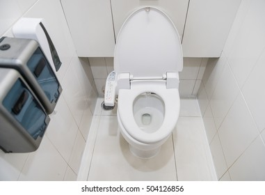 toilet with electronic seat automatic flush