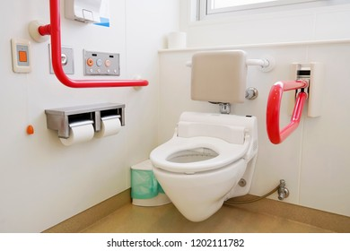 Toilet and handrail for disabled people at the toilet room, safty concept