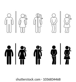 Toilet male and female icon. Stick figure funny wc, restroom set on white